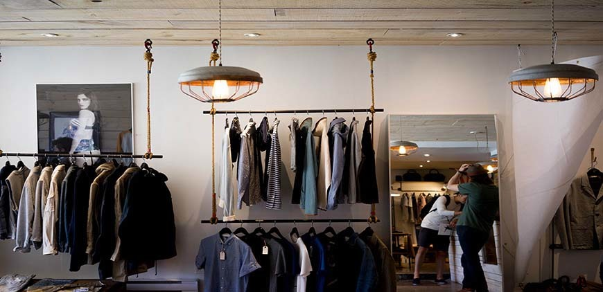 Clothing Store with racks of mens clothes