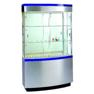 "Curved Wall 48"" Wide Display Case with Storage"