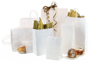 White Kraft Food Packaging Bags and Boxes