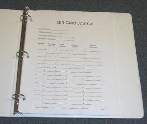 Gift Card Journal Entry Binder