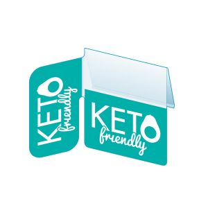 """Keto Shelf Talker with Right Angle Flag, 2.5""""W x 1.25""""H"""