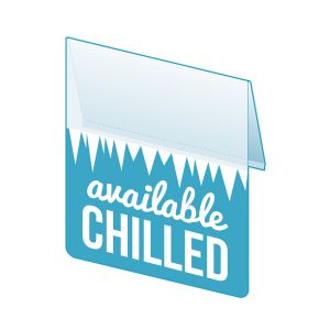 """Available Chilled Shelf Talker, 2.5""""W x 1.25""""H"""