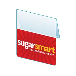 """Sugar Smart Shelf Talker with Right Angle Flag, ClearVision, 2.5""""W x 1.25""""H"""
