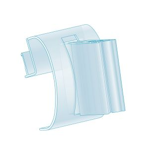 """Clip-In, Right Angle Grip with Hinge 0.75""""L, Clear"""