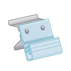 """Channel Clip-In, Flush Grip with Metal Clip 1.25""""H x 1.5""""L, Clear"""