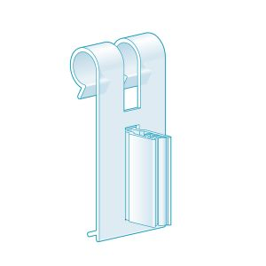 """Fence & Basket Clip-On, Right Angle Grip 2.25""""H x 1""""L, Clear"""