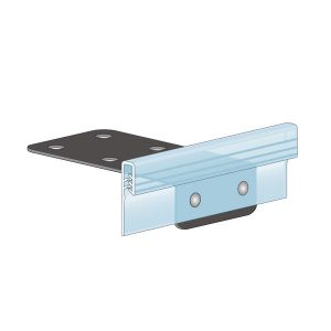 """Shelf Edge Top Mount, Flush Grip with Metal Wedge Plate 4""""L, Clear"""