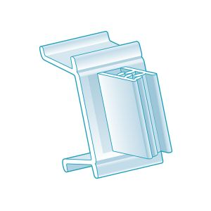 """Channel Clip-In, Right Angle Grip 1.25"""" H x 0.75""""L, Clear"""