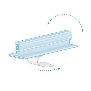 """Multi-Use Adhesive, T-Style Grip with Hinge, holds up to 0.187"""", Clear"""