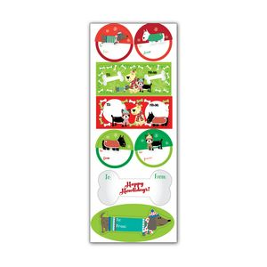 Label Sticker Sheets, Christmas Dog Collection
