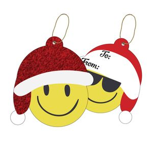 """Gift Tags with Strings, Emoji Christmas Collection, 3-1/2"""" x 3-1/2"""""""