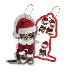 """Gift Tags with Strings, Kitty Christmas Collection, 3-1/2"""" x 3-1/2"""""""