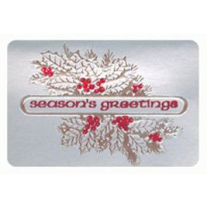 Holiday Gift Enclosure Card, Red Foil on Silver
