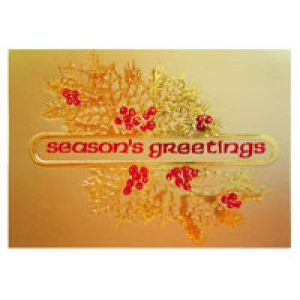 Holiday Gift Enclosure Card, Red Foil on Gold