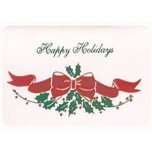 Holiday Gift Enclosure Card, Green/Red on White