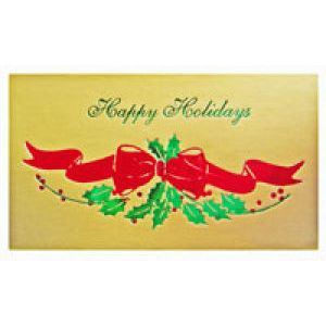 Holiday Gift Enclosure Card, Red/Green on Gold