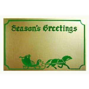 Holiday Gift Enclosure Card, Green on Gold