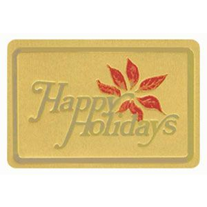 Holiday Gift Enclosure Card, Red and Gold on Gold