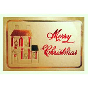 Holiday Gift Enclosure Card, Red & Gold on Gold