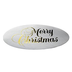 Merry Christmas - Gold on Silver, Gift Labels