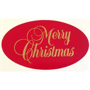 Merry Christmas - Gold on Red, Gift Labels
