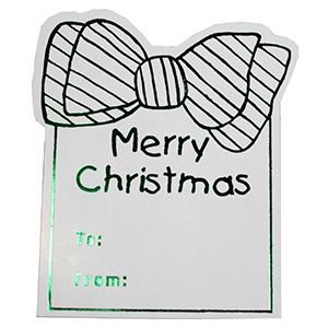 Merry Christmas Bow - Green, Gift Labels