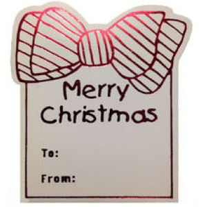 Merry Christmas Bow - Red, Gift Labels