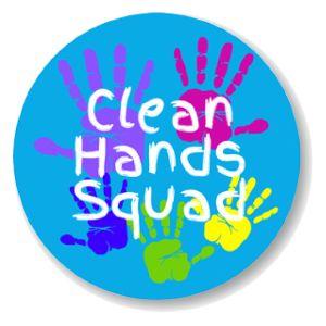 "Health Hygiene Label, 'Clean Hands Squad', 2"" DIA"