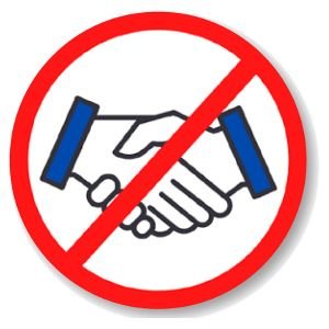 "Health Hygiene Label, 'No Handshake', 2"" DIA"
