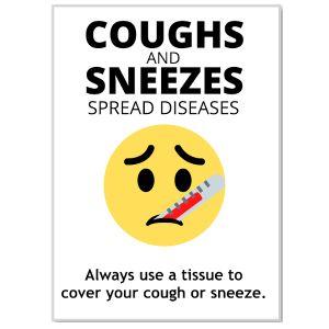 Health Hygiene Label, 'Cough & Sneezes'