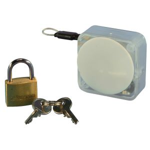 Handbag Security, 20 mm Padlock with Clear wire & MicroMini Retractor