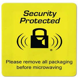 EAS labels, 4210 Yellow with Black Lock Logo