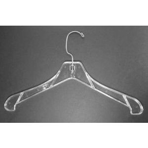 """17"""" Clear, Heavy weight Outerwear Hangers"""