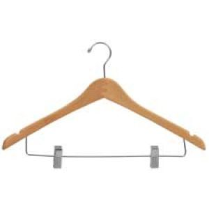 """17"""" Natural Finish, Contoured Wood Suit Hangers with clips"""