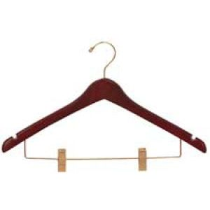 """17"""" Walnut, Contoured Wood Suit Hangers with clips"""