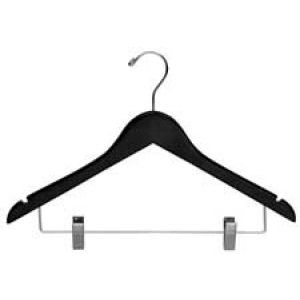 """17"""" Black, Wooden Contoured Wood Suit Hangers with clips"""