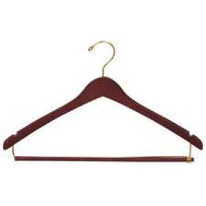 "17"" Walnut, Contoured Wood Suit Hangers with lock bar"
