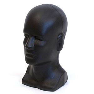 """Head Bald Male with Face, Black, Molded Plastic, 12.5"""" H"""