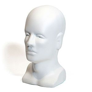 """Head Bald Male with Face, White , Molded Plastic, 12.5"""" H"""
