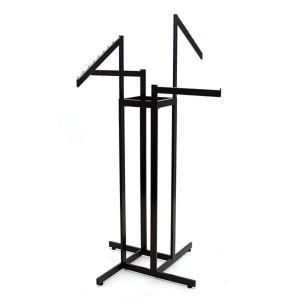 "4 Arms Straight & Slant Garment Rack, Black, adjustable to 72"""