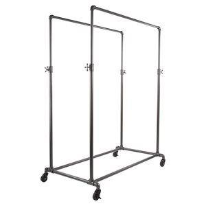 Double Hangrail Clothing Rack, Adjustable, Grey