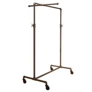 Clothing Rack with 1 Cross Bar, Adjustable, Grey
