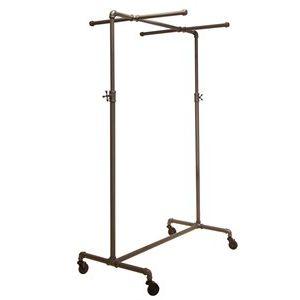 Clothing Rack with 2 Cross Bars, Adjustable, Grey