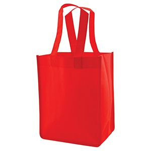 """Reusable Shopping Bags, 8"""" x 5"""" x 10"""" x 5"""", Red"""