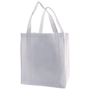 "Reusable Grocery Bags, 12"" x 8"" x 13"", White"