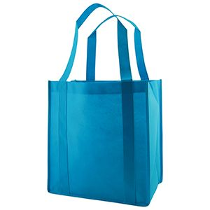 "Reusable Grocery Bags, 12"" x 8"" x 13"", Aqua Blue"