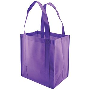 "Reusable Grocery Bags, 12"" x 8"" x 13"", Purple"