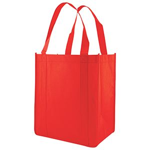 "Reusable Grocery Bags, 12"" x 8"" x 13"", Red"