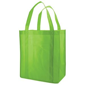 "Reusable Grocery Bags, 12"" x 8"" x 13"", Lime Green"