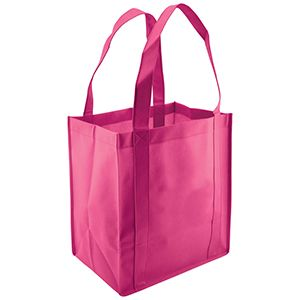 "Reusable Grocery Bags, 12"" x 8"" x 13"", Hot Pink"